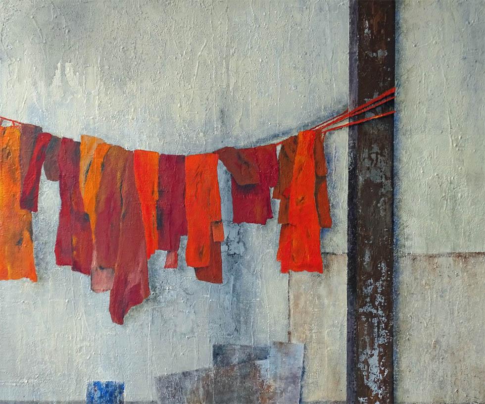 Auch Mönche haben große Wäsche / Acryl auf Leinwand - 70 x 80 cm - 2019