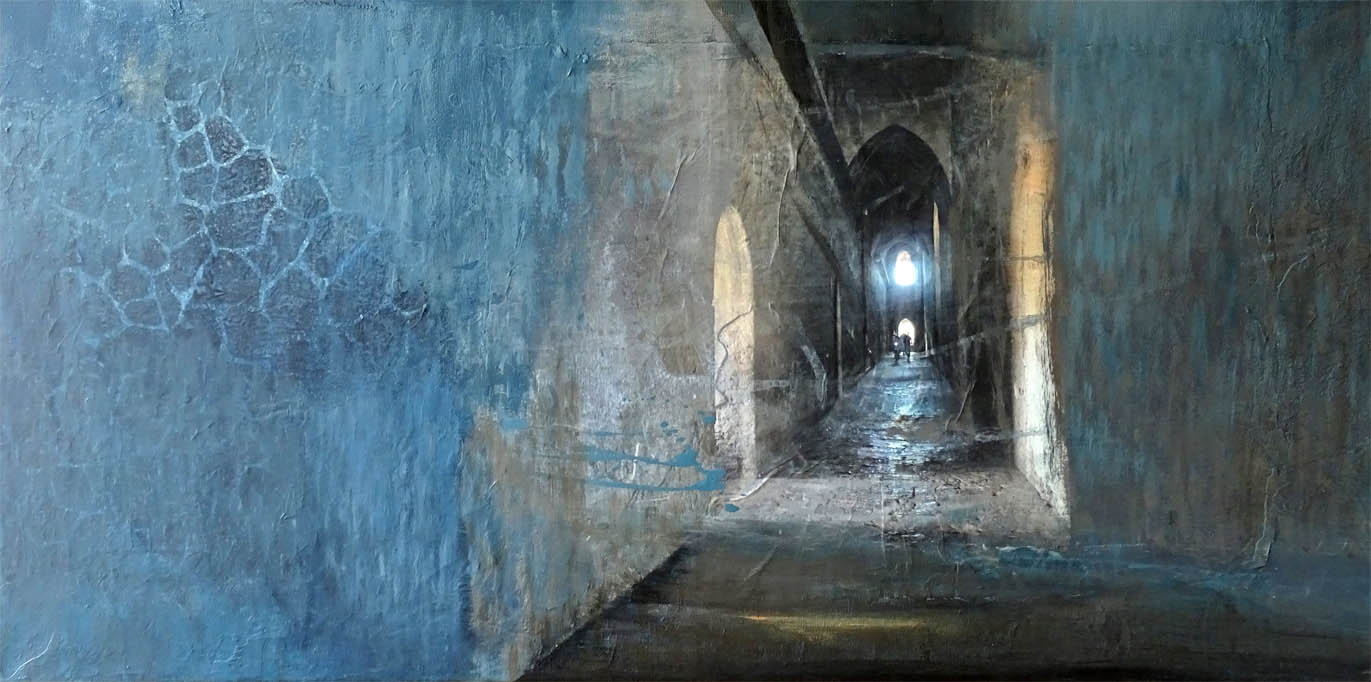 Geheimnisvoll / Collage - Acryl auf Leinwand - 50 x 100 cm - 2020