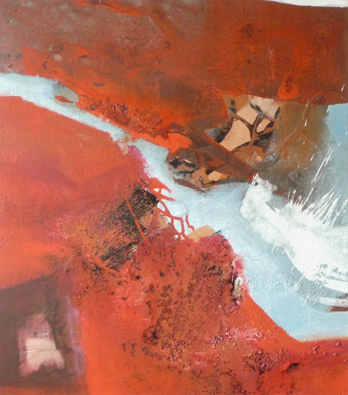 Geteiltes Rot / Acryl auf Leinwand - 80 x 70 cm - 2010