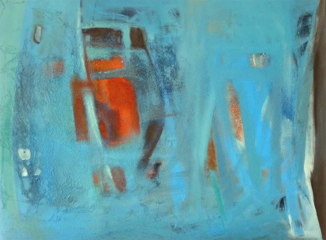 Mitten im Blau/  Mischtechnik auf Leinwand - 60 x 80 cm - 2011