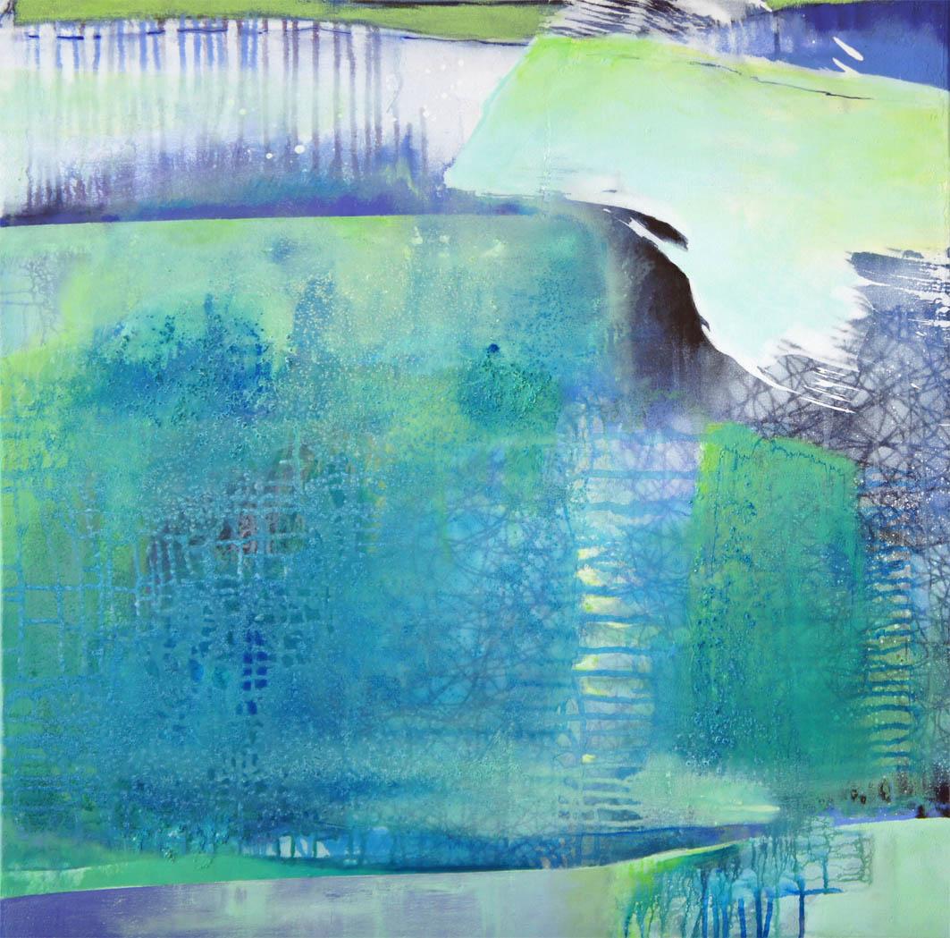 Regentropfenwettrennen / Acryl auf Leinwand - 80 x 80 cm - 2013