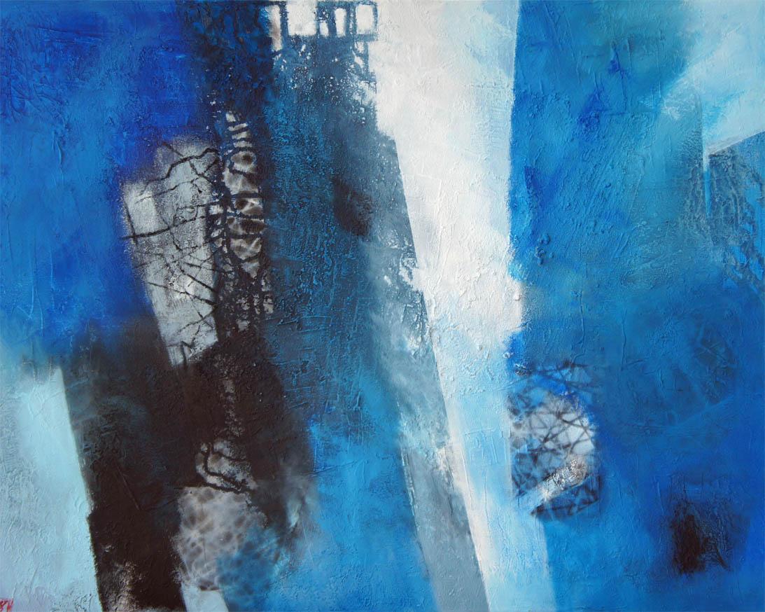 Spuren im Blau / Acryl auf Leinwand - 80 x 100 cm - 2013