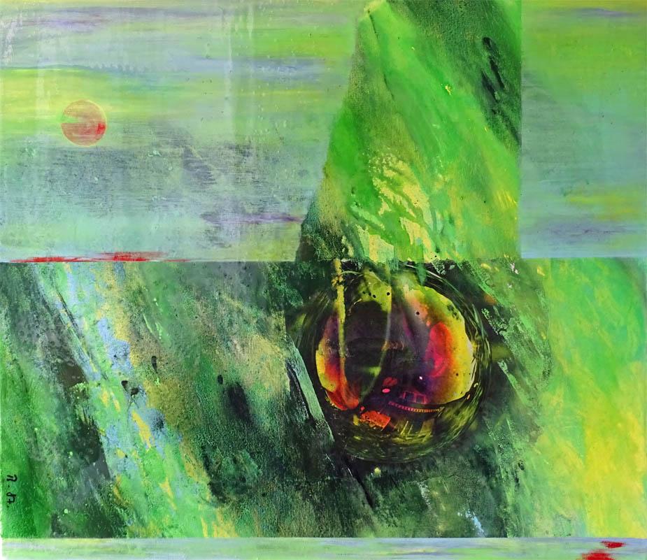 Wo sind die Enden einer Kugel ? / Transformation Acryl, Kaltglasur auf Leinwand - 70 x 80 cm - 2018